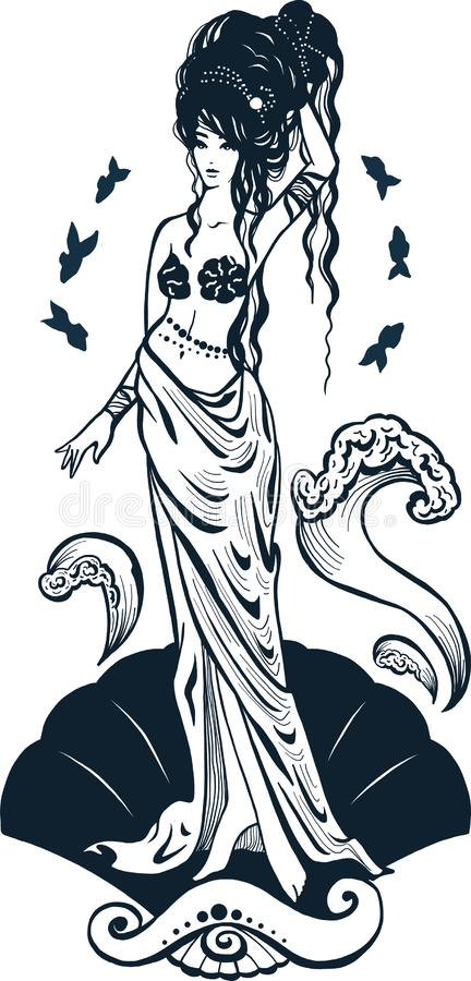 Silhouette goddess Aphrodite standing on the seashell. Isolated figure of girl from mithology. Logotype for luxury project stock illustration