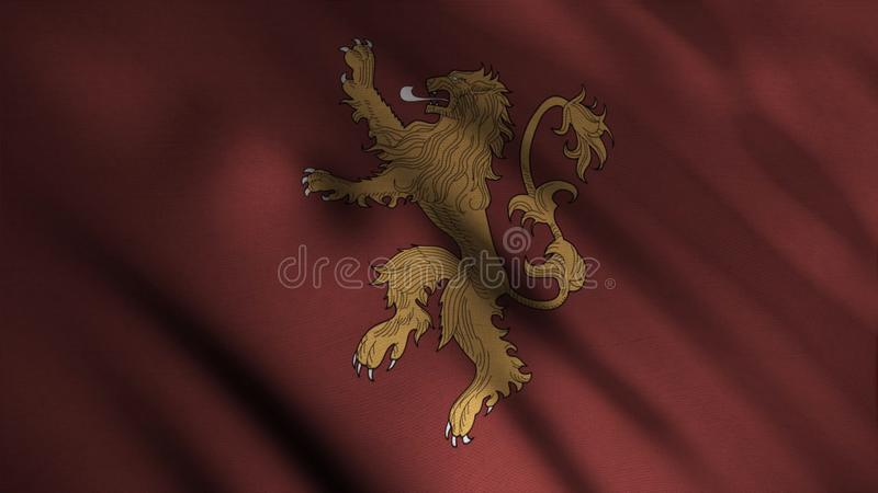Silhouette of golden lion standing bravely on two legs on background of developing red flag. Animation. Emblem of house. Lannister. Concept of series Game of vector illustration