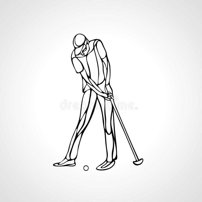 Silhouette of golf player. Outline. Side view. Vector eps8. Golf Sport Silhouette of Golfer finished hitting Tee-shot royalty free illustration