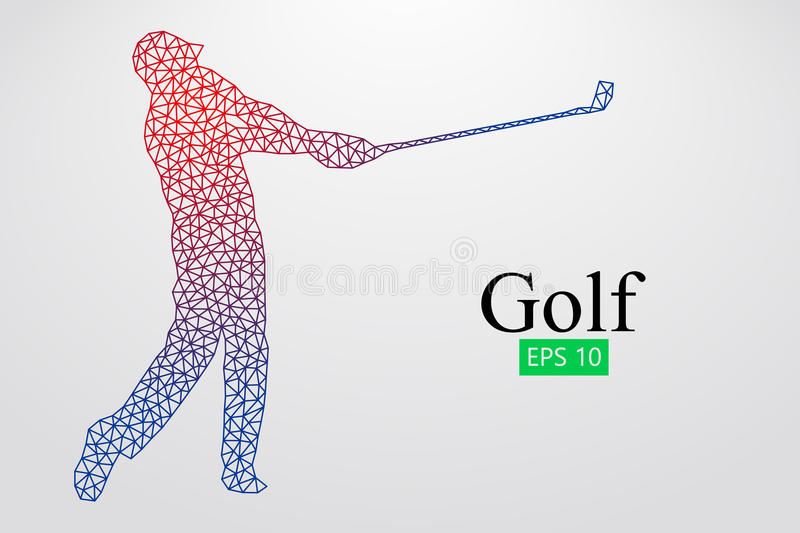 Silhouette of a golf player. Vector illustration. Silhouette of a golf player. Background and text on a separate layer, color can be changed in one click. Vector