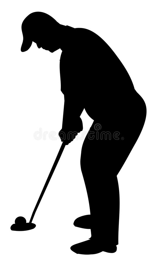 Silhouette of golfer stock images