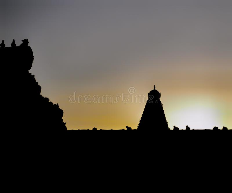 Silhouette of gopuram of temple in tanjore royalty free stock image