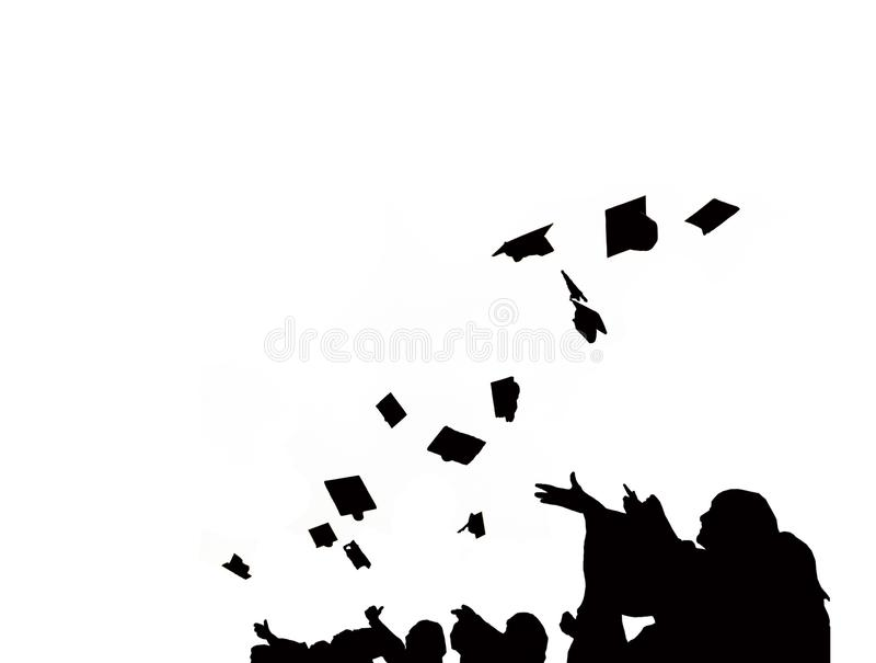 Silhouette of Graduate Students throw mortarboards in university graduation success ceremony. Congratulation on Education Success vector illustration