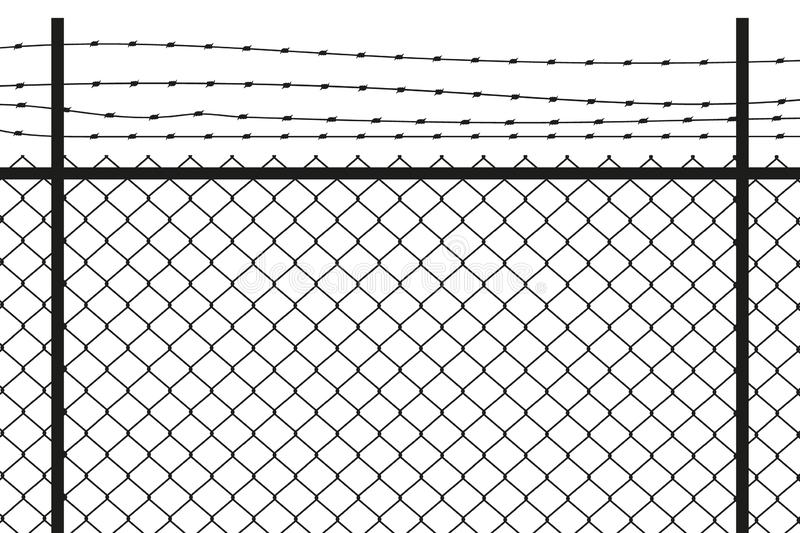 Silhouette graphic depicting a chain link and barbed wire fence. Vector. stock illustration