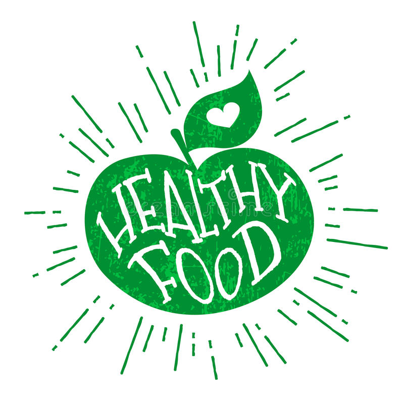 Silhouette of a green apple with heart and lettering text Healthy Food. Vector color label stock illustration