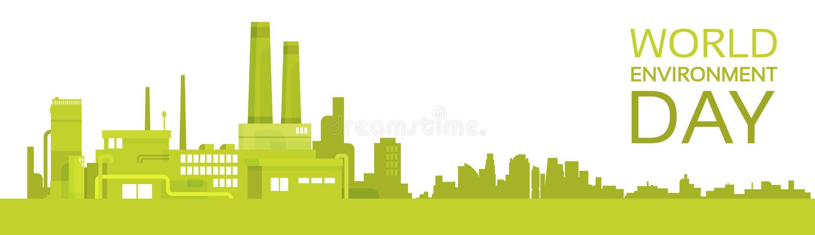 Silhouette Green Plant World Environment Day Factory Banner vector illustration
