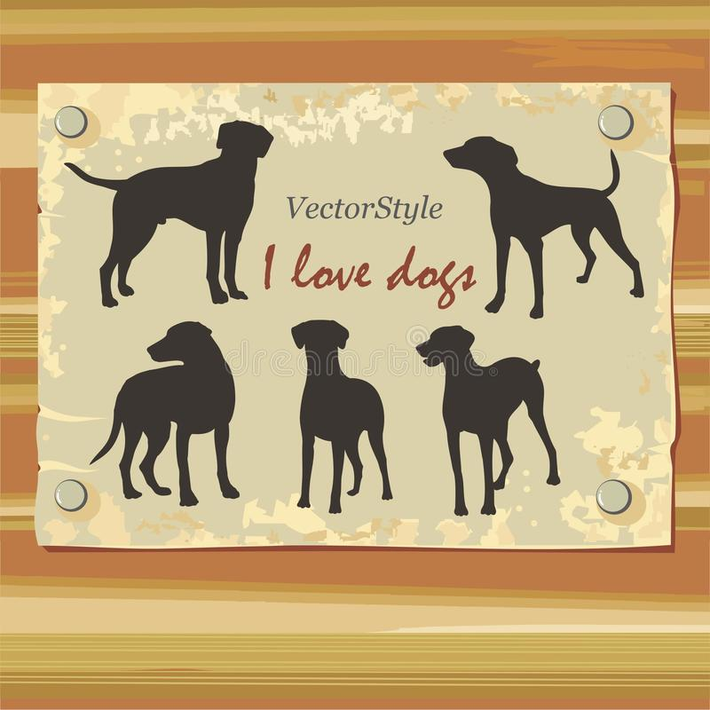 Silhouette of greyhounds in vector. Silhouettes of greyhounds from different angles stock illustration