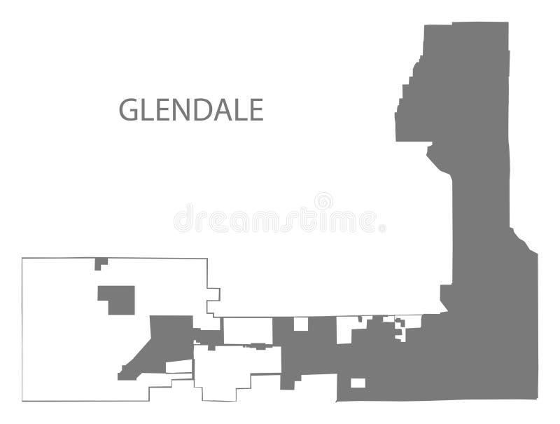 Silhouette grise d'illustration de carte de ville de Glendale Arizona illustration stock