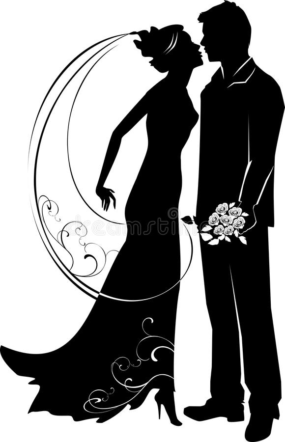 Silhouette of groom and bride stock illustration