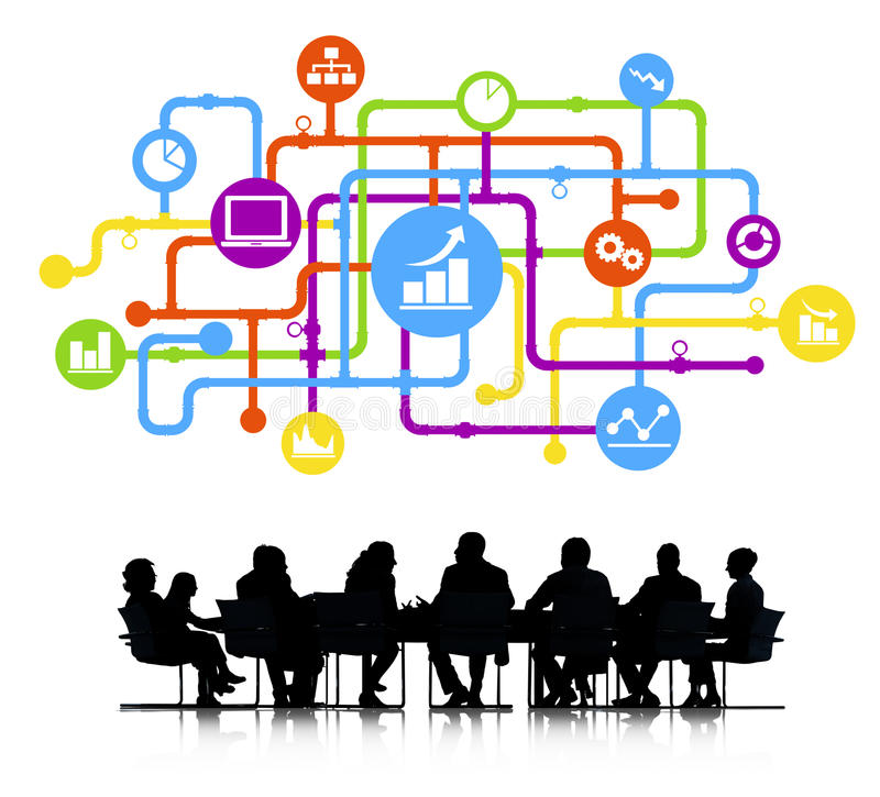 Silhouette Group of Business People Meeting stock illustration