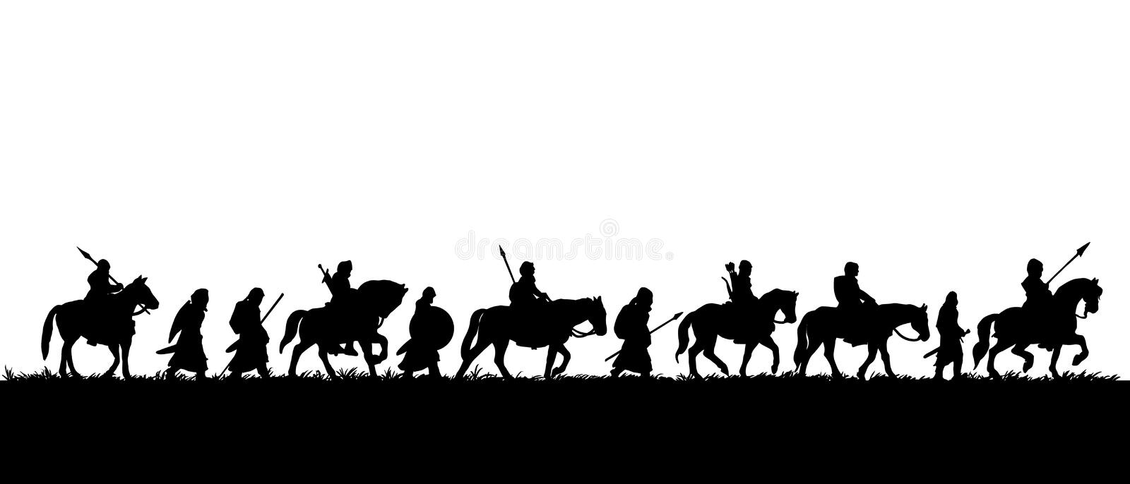 Silhouette of group of medieval warriors on the expedition stock illustration