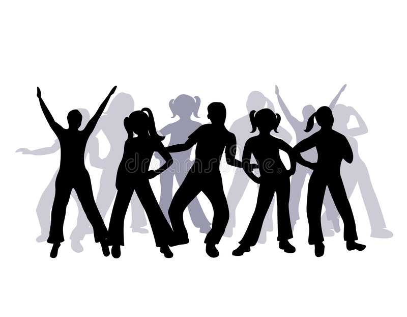 Download Silhouette Group Of People Dancing Stock Vector - Illustration of exercise, pose: 4272222