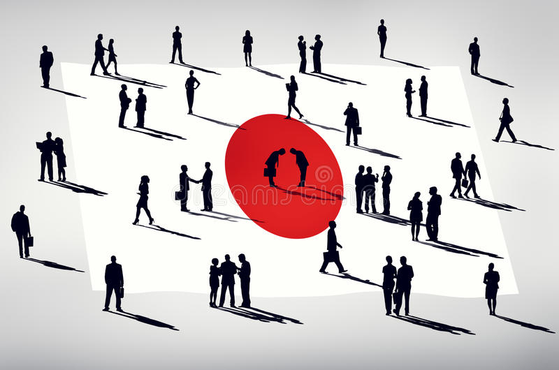 Silhouette Group of People Global Business Japan Concept vector illustration