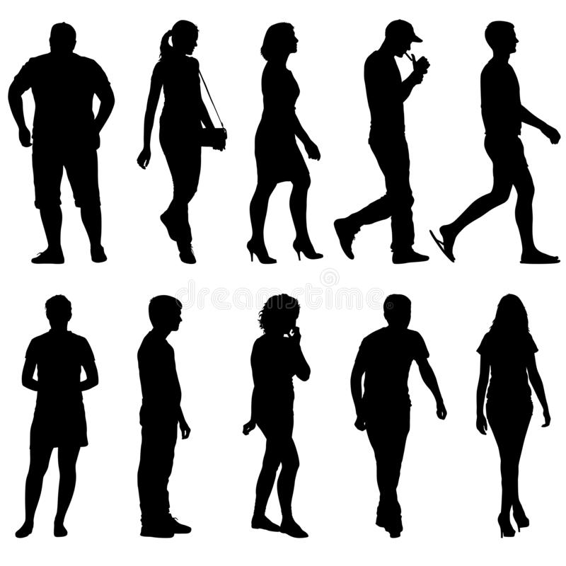 Silhouette Group of People Standing on White Background stock images
