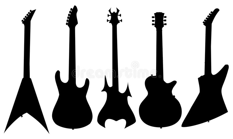Silhouette of guitars royalty free stock images