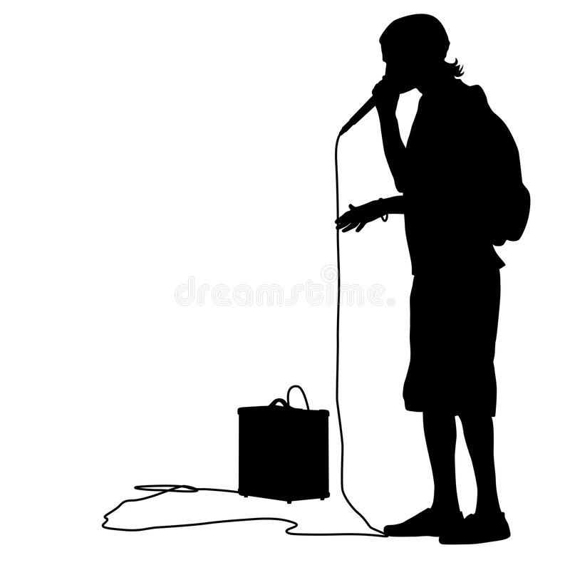 Silhouette of the guy beatbox with a microphone. Vector illustration royalty free illustration