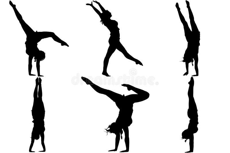 Silhouette gymnast dancer royalty free illustration