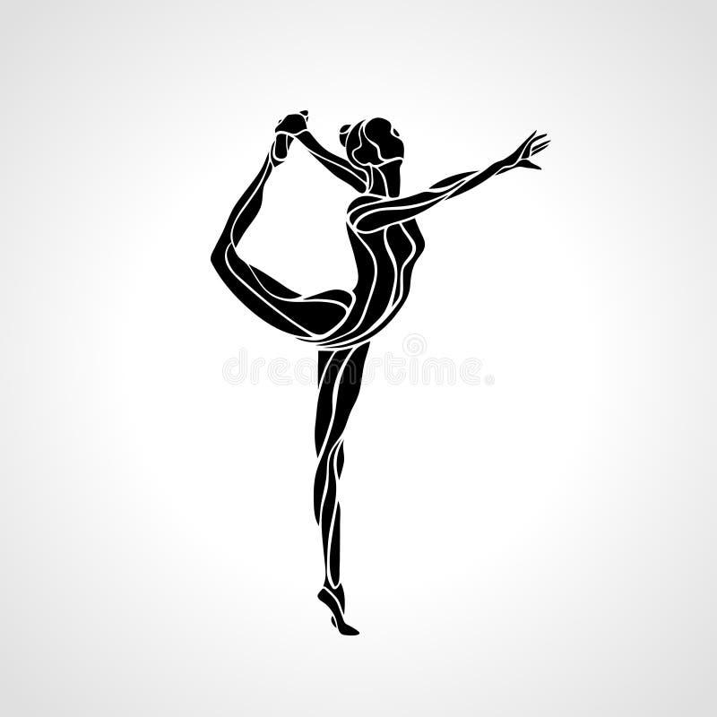 Silhouette of gymnastic girl. Art gymnastics. Creative silhouette of gymnastic girl. Art rhythmic gymnastics, black and white vector illustration vector illustration