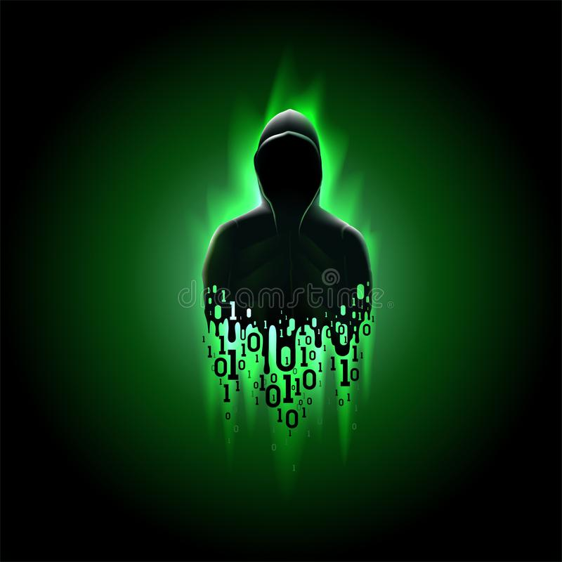 Silhouette of a hacker with binary code on a green background, hacking of a computer system, theft of data. Silhouette of a hacker in a hood with binary code on vector illustration
