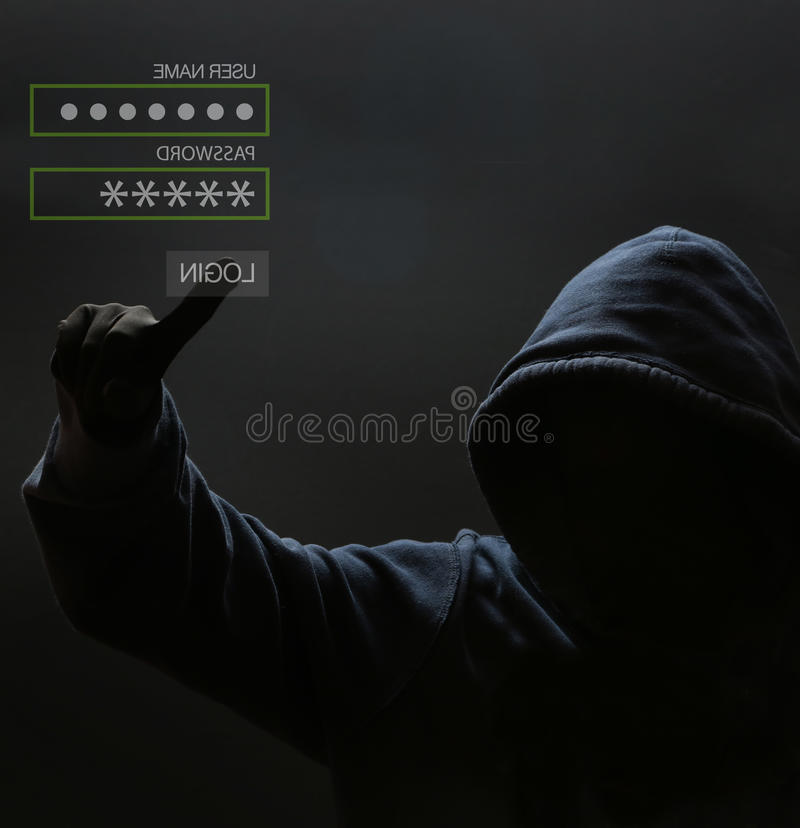 Silhouette of a hacker royalty free stock images