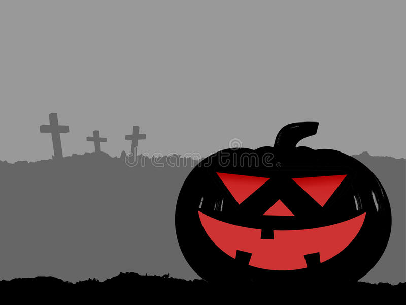 silhouette of big head halloween pumpkin (jack o lantern) funny face smiling scary on hill and three cross on gray vector illustration
