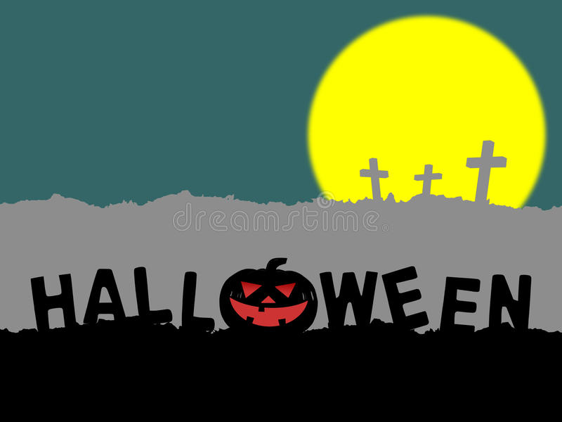 Silhouette of word halloween with halloween pumpkin (jack o lantern) on hill and three cross on gray mountain with. Yellow full moon on green vector illustration