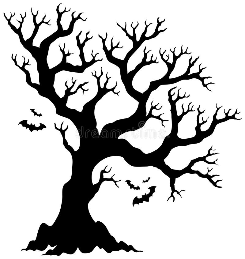 Silhouette Halloween Tree With Bats Stock Vector - Illustration ...