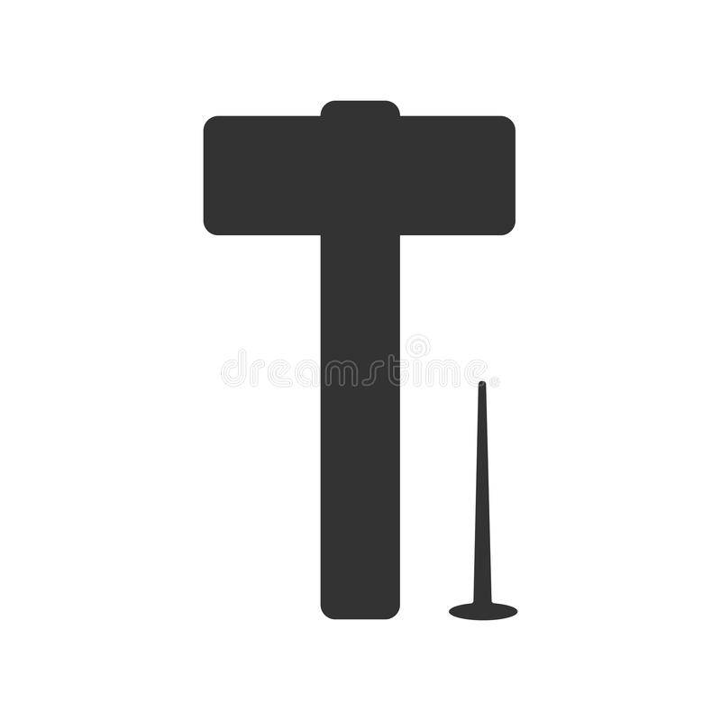 Silhouette of a hammer and nail construction tools. Isolated black object vector illustration
