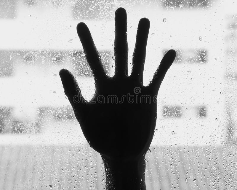 Silhouette of hand with glass. Soft focus stock photos