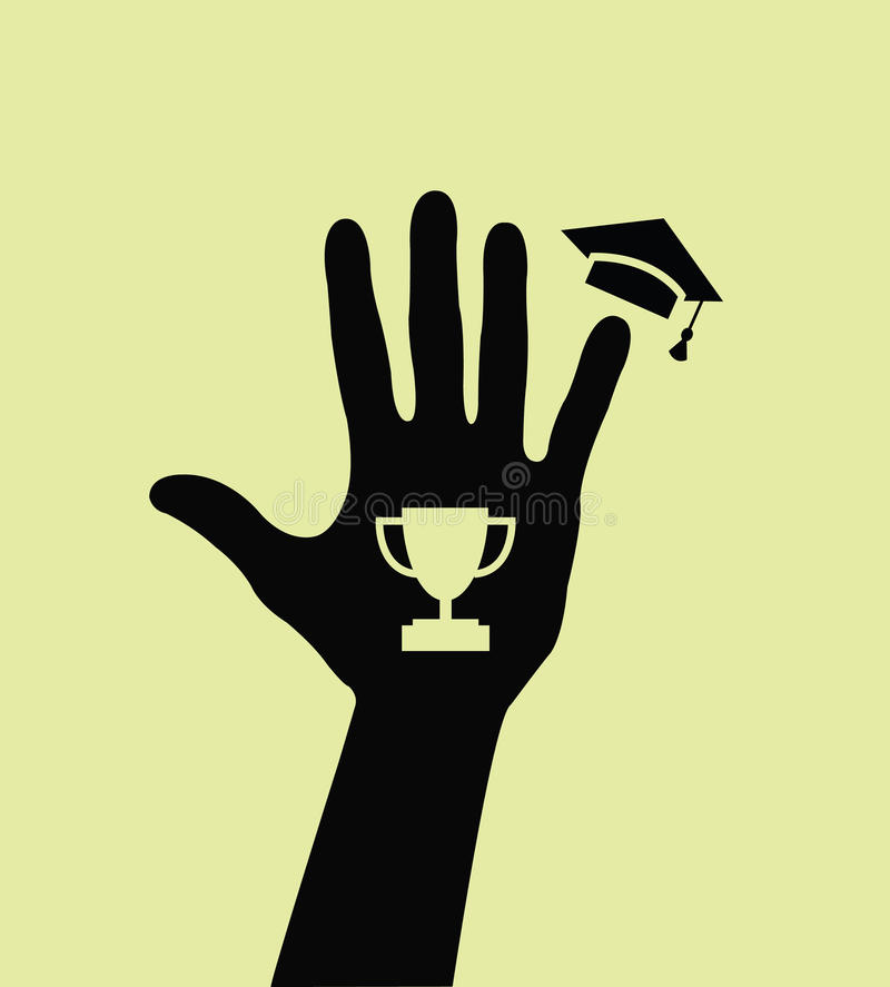 Download Silhouette Of A Hand With Goblet And Mortarboard Stock Vector - Image: 18581295