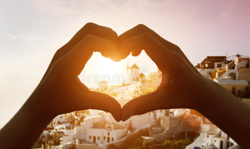 Download Silhouette Hand In Heart Shape Stock Photo - Image of island, architecture: 82891258