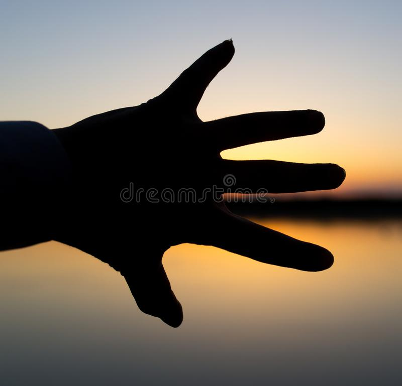 Silhouette of the hand on the sunset background stock photography