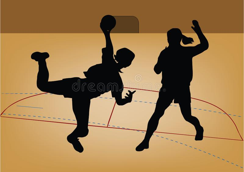 Silhouette of handball player royalty free stock photography