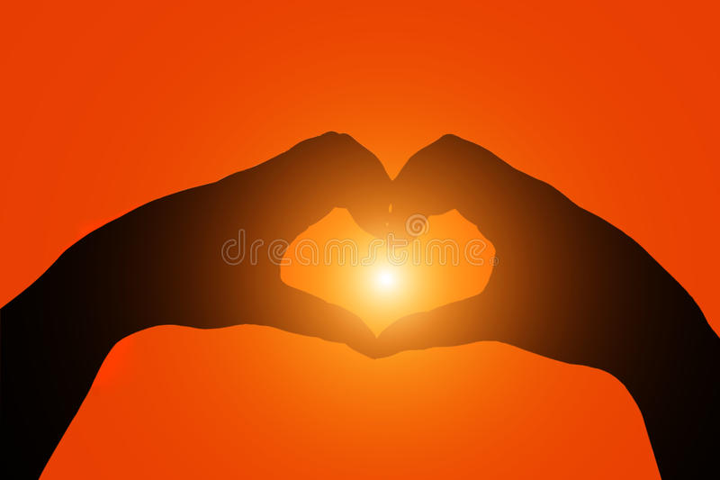 Silhouette hands heart shape. stock images