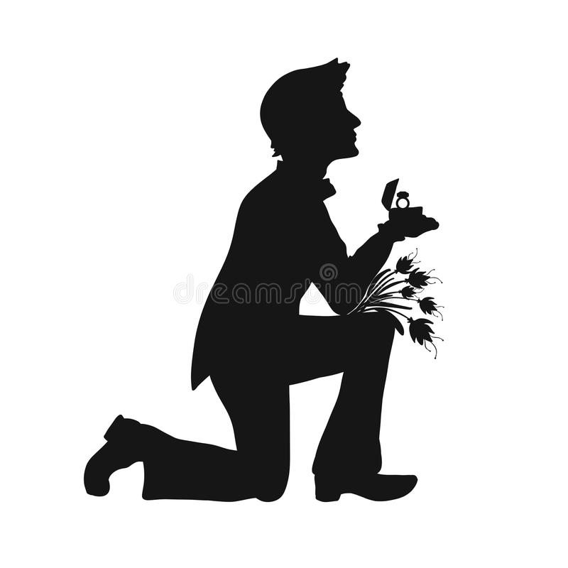 Silhouette of a handsome man on his knees with a ring and flowers royalty free illustration