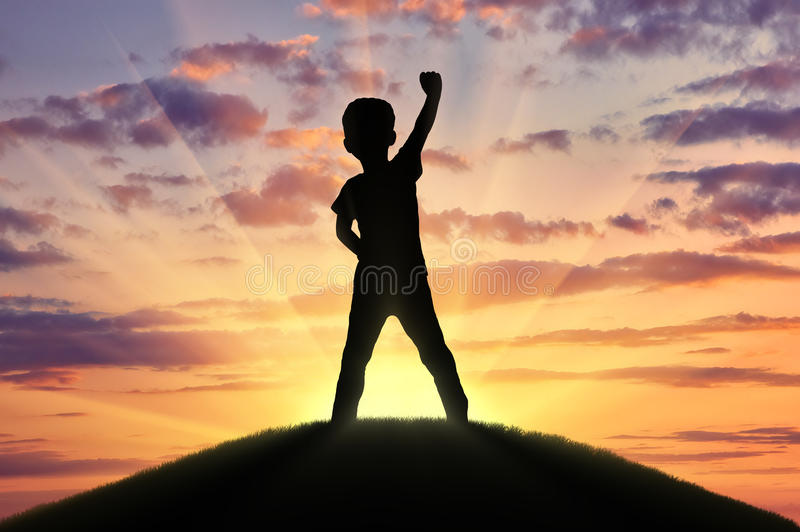 Silhouette of a happy child royalty free stock images