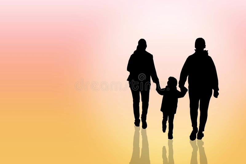 The silhouette of a happy family is father, mother and son walking in sunset. royalty free illustration