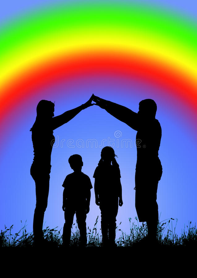 Silhouette of a happy family making the home sign on a backgroun of rainbow stock photos