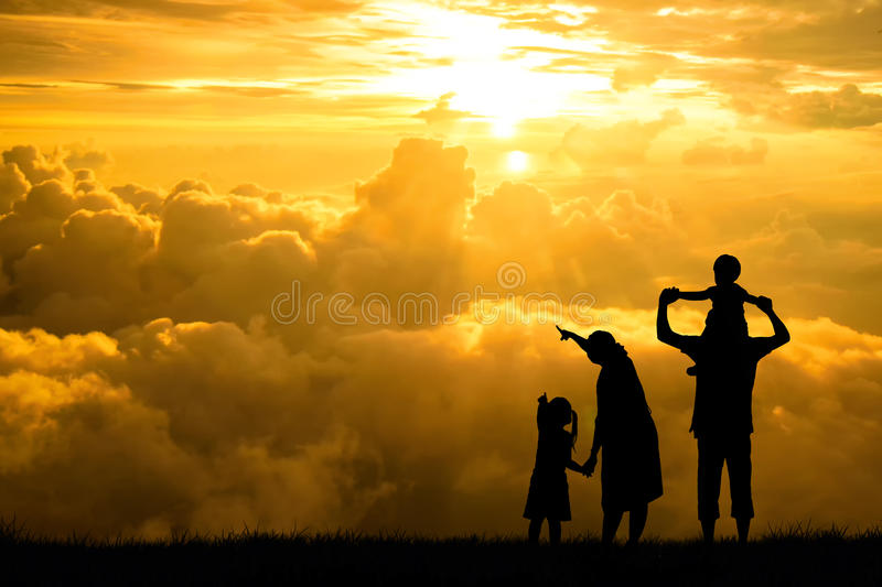 silhouette of a happy family, mother, father, baby, child and infant(women prenancy) royalty free stock photos