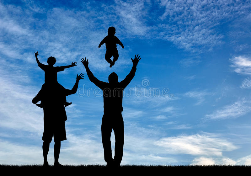 Silhouette happy gay parents royalty free stock images