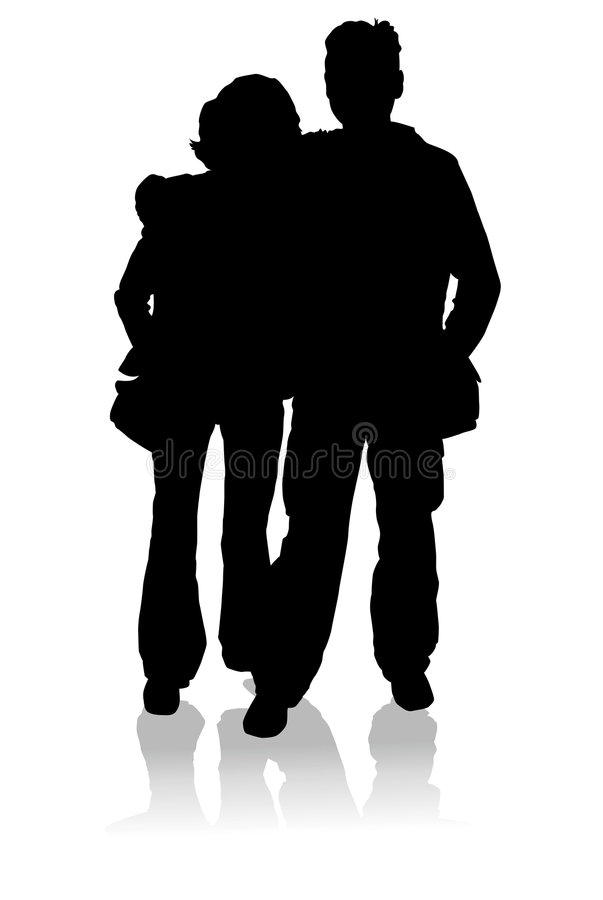 Silhouette happy young family, vector stock illustration