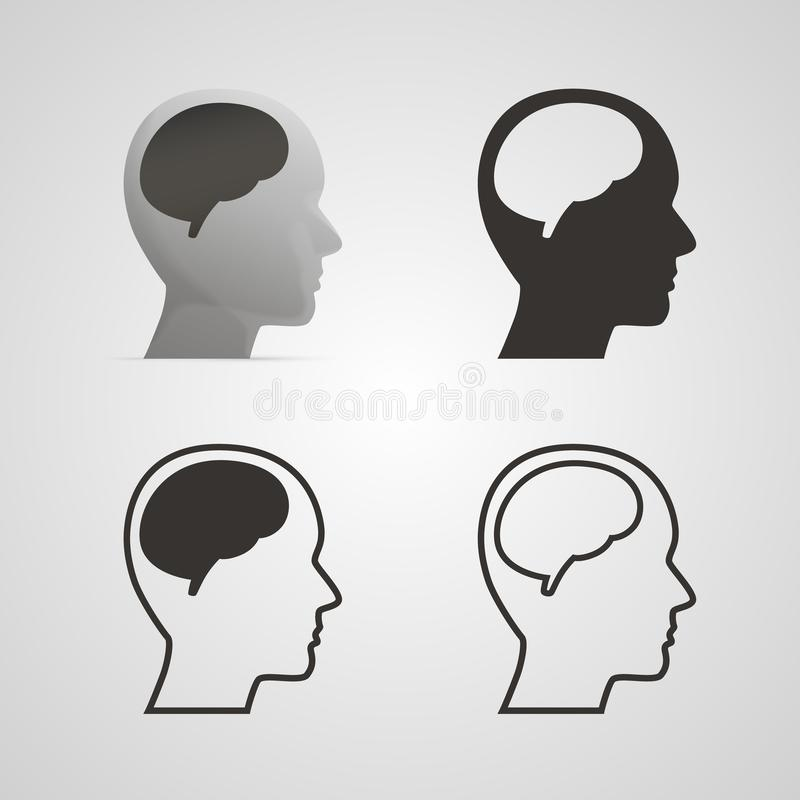 Silhouette head with the brain set. stock illustration
