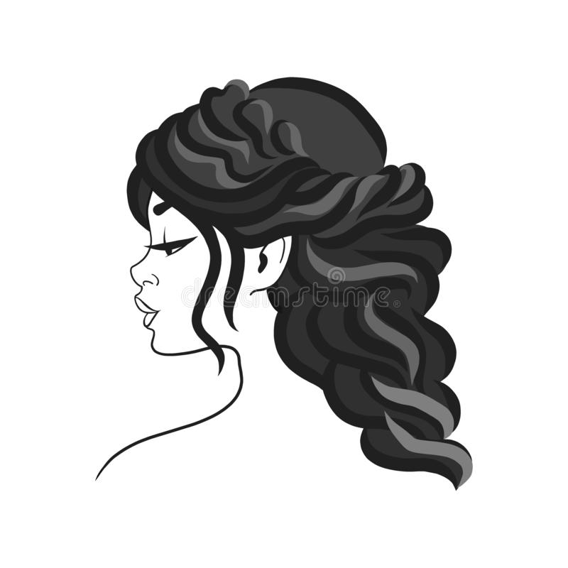 Silhouette of the head of a cute lady. The girl demonstrates a female hairstyle on medium and long hair. Suitable for logo,. Advertising. Vector illustration stock illustration