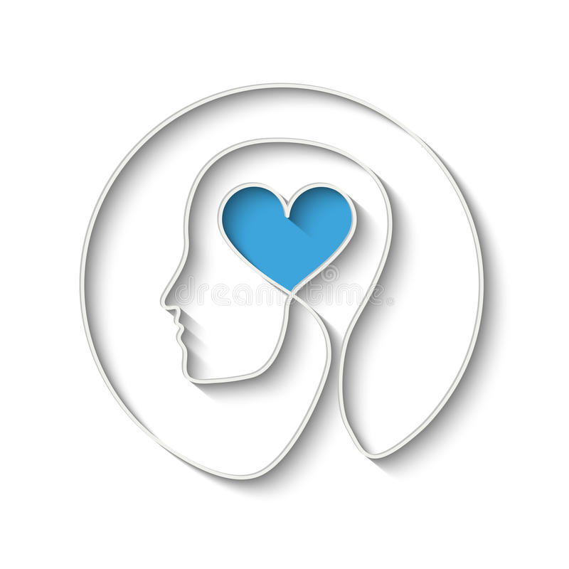 SIlhouette of head. With heart symbol. Eps10 vector for your design stock illustration