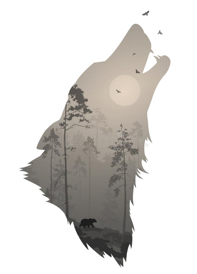 Silhouette of the head of the howling wolf vector illustration