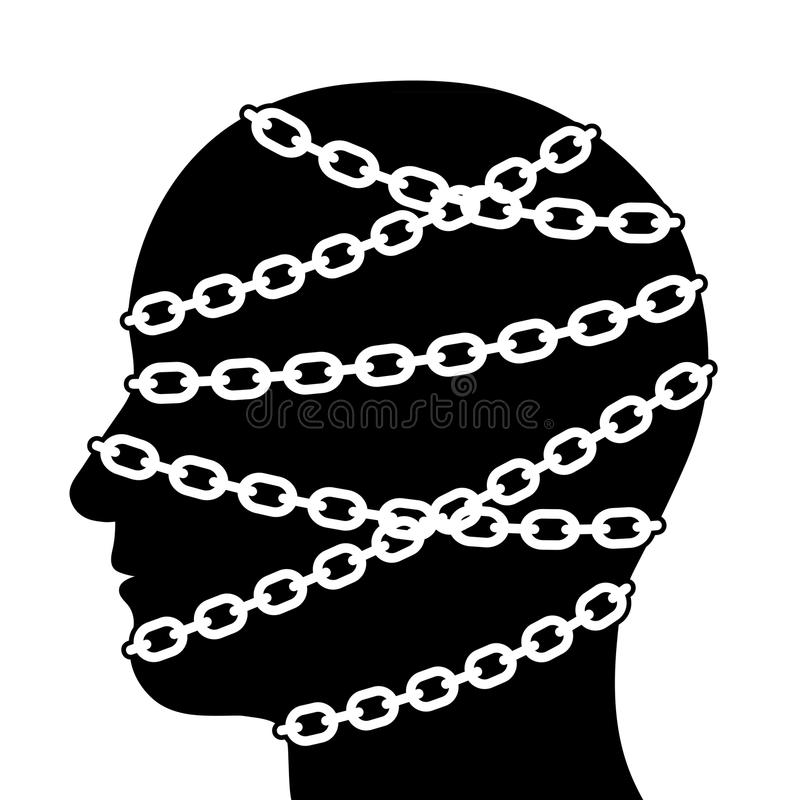 Silhouette Head Isolated with Chains. Close up Silhouette Human Head in Side View Isolated with Chains on White Background royalty free illustration
