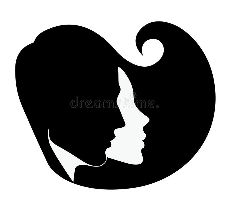 download silhouette of the head of man and woman in profile stock vector image
