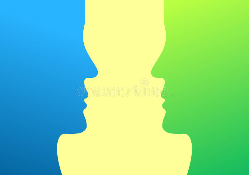 Silhouette heads facing each other. Two human faces on profile looking at each other stock illustration