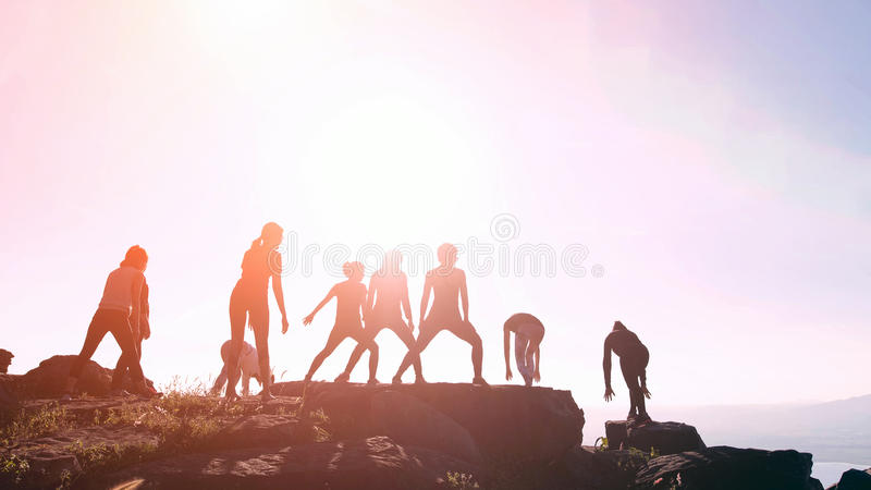 Silhouette the healthy women groups practicing yoga on the mount. Ain in nature royalty free stock images