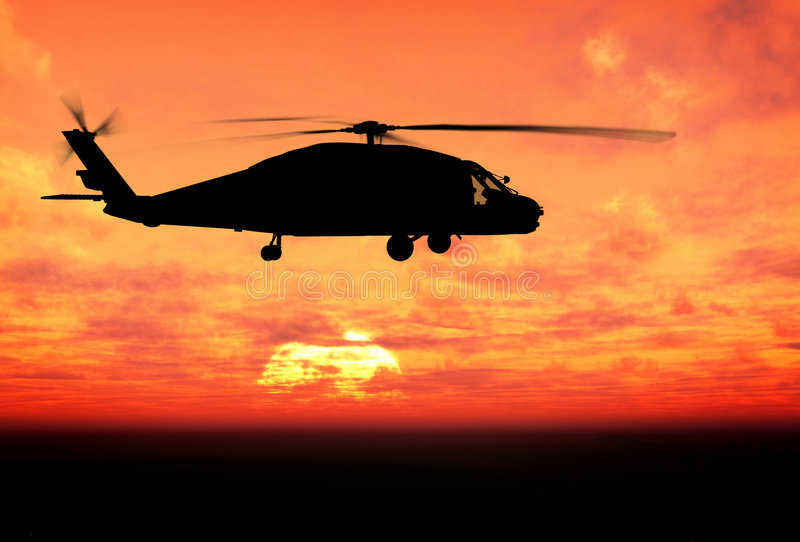 Silhouette of helicopter royalty free illustration